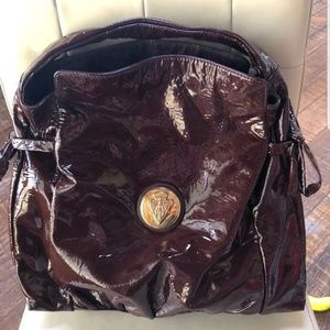 GUCCI XL Burgundy Patent Leather Hysteria Bag